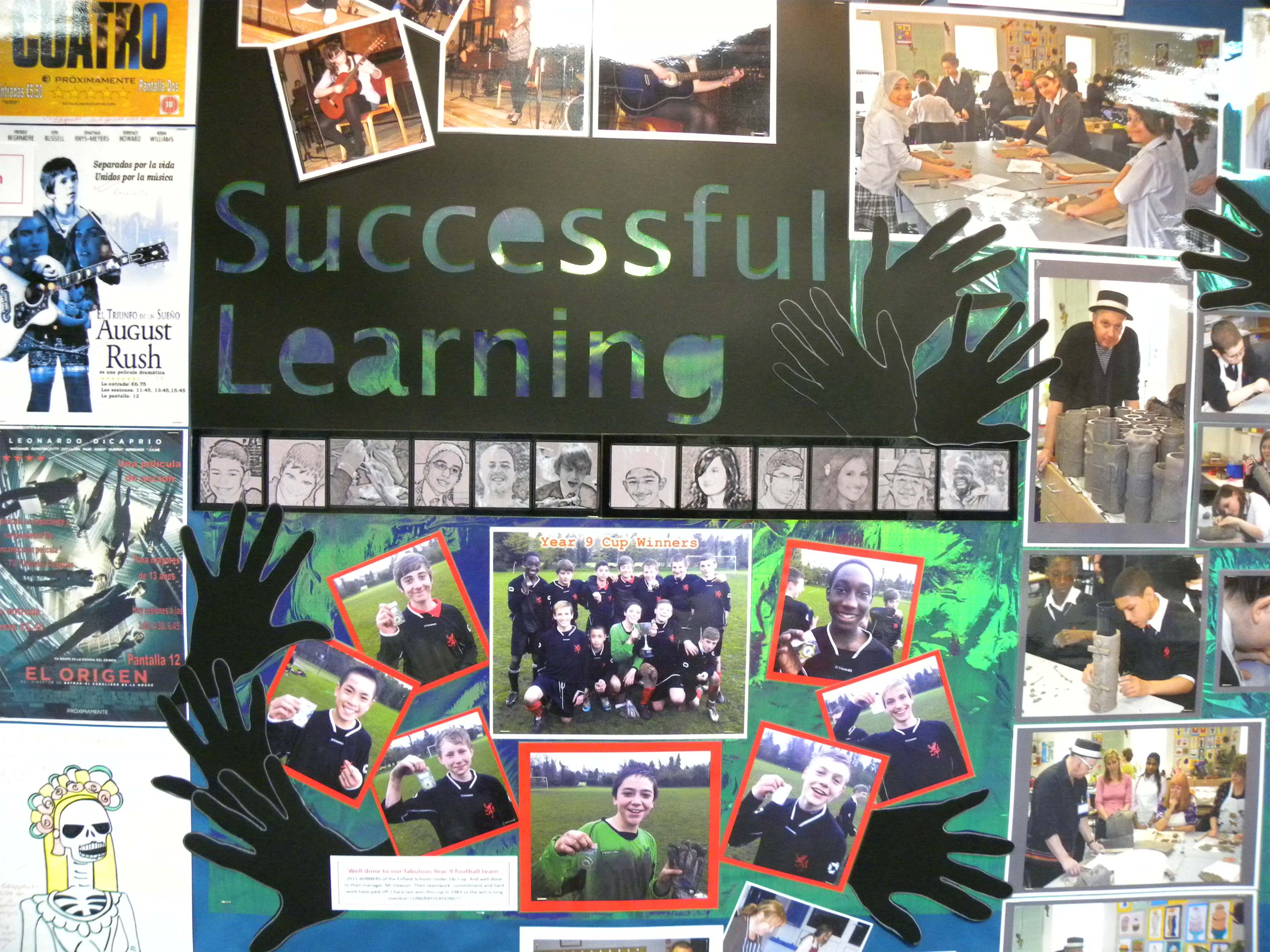displays and samples of design work to support literacy in